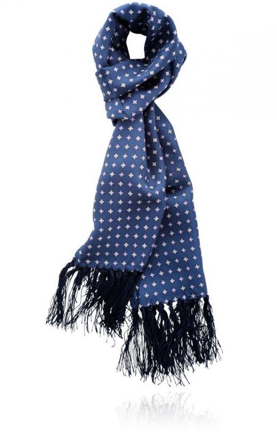 Knightsbridge Navy Polka Dot Print 100/% silk aviator scarf …
